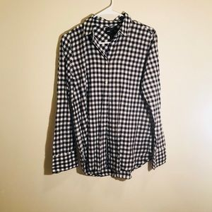 "J. Crew Women's Black and White ""Boy"" Button Up"